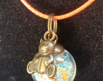 Handmade Glass Ball Necklace Filled with Stars and Teddy Bear Charm Cute Gift Free Shipping