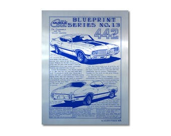 1970 Olds 442 Car Art Metal Look Cardstock Print,70 Oldsmobile Musclecar,Man Cave Decor,Teeters,MuscleCar Print,1970 Muscle Car Art