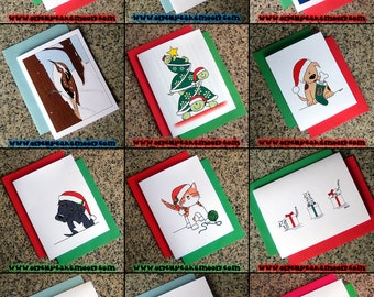 SINGLE CARD holiday christmas cards - custom personalized traditional handmade seasons greetings - choose from 15 designs