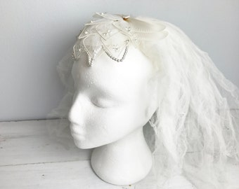 Vintage Short Bridal Veil with Beaded Head Piece and Blusher- Off White