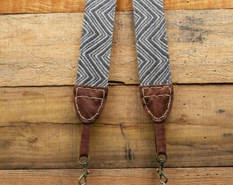 Geometric Camera Strap for DSLR & Mirrorless Camera - Hand Made Double Sided Linen/Cotton (One of a kind - Hand stitched) FREE SHIPPING