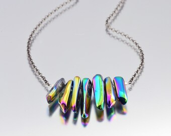 Rainbow Titanium Quartz Dagger Necklace