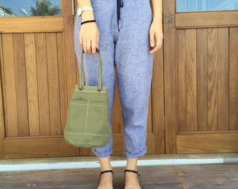 Mini Green Canvas Bucket Bag with Strap /Leather Handles for Daily use, Travel, Gift