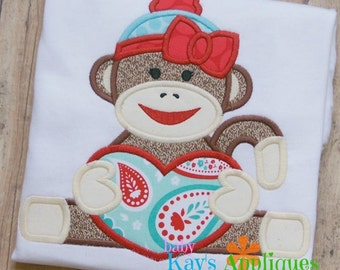 Sock Monkey Girl with Heart Applique Design 4x4, 5x7, 6x10, 8x8