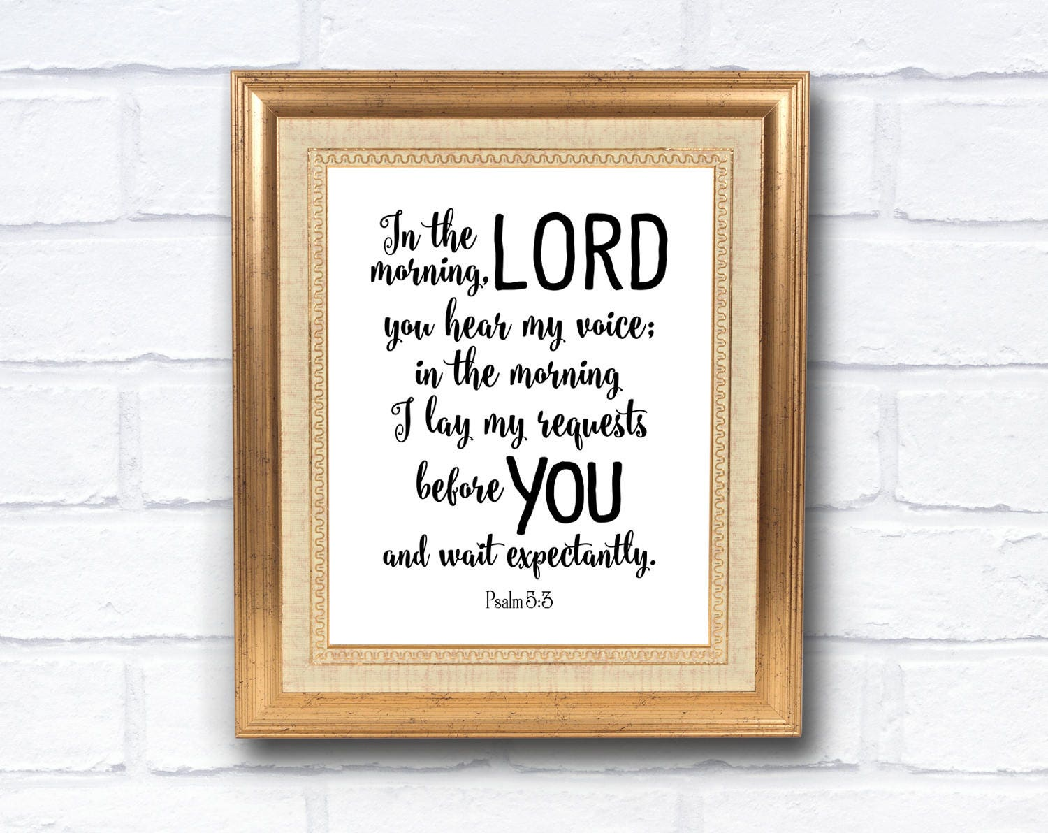 Psalm 5:3 Bible Scripture, Instant Download, Wall Art Printable ...