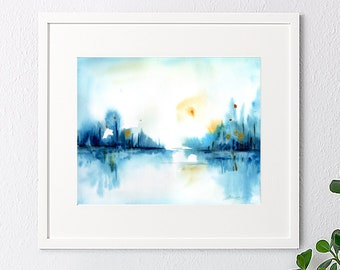 father's day gift, Landscape art print from original watercolor painting, wall art, blue print, watercolor landscape, poster, home decor