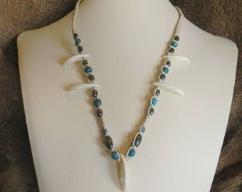 Gift for Her - Coyote Tooth Hemp Necklace - All Natural Beads on Cream Hemp - Rivershell Necklace - Custom Hemp Jewelry - Hematite Jewelry