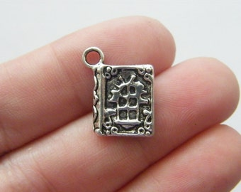 8 Spell book charms antique silver tone PT28