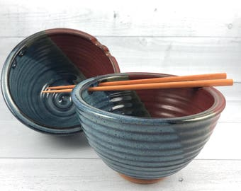 Rice Bowl Set - Pair of 2 Handmade Bowls - Noodle Bowls - Pho Bowls - Pottery Bowls with Choice of Chopsticks