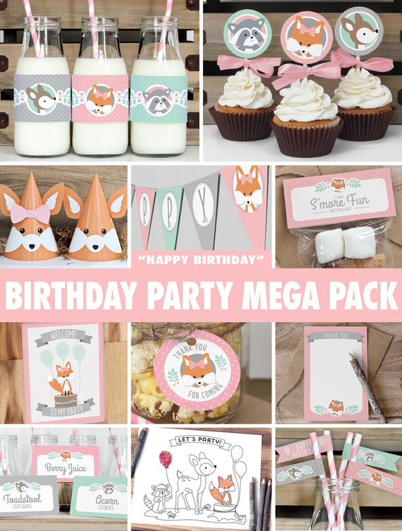 Girl Woodland Birthday Party Mega Pack INSTANT DOWNLOAD Mint