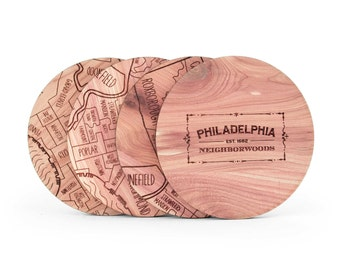 Philadelphia Map Coaster Set