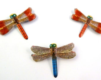 Dragonfly Brooch, Set Of Three Vibrant Dragonly Brooches,  Lithographed Tin Dragonfly Brooches