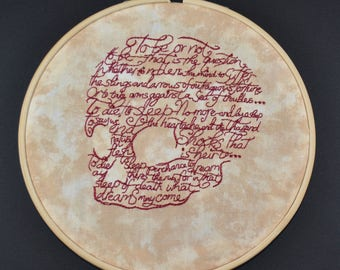Skull with Hamlet quote from Shakespeare- embroidery- red