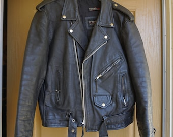 Vintage Black Leather Motorcycle // Biker Jacket MENS Size 48 Large 1980s 1990s 80s 90s distressed wilsons thinsulate