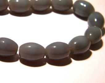 10 beads - 11 x 8 mm-grey - oval glass bead opaque glass - 3 K02