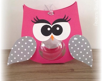 6 owls ball fuchsia and grey box personalized dragees