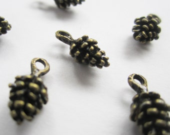 10 small antiqued bronze pine cone charms - 5x15mm