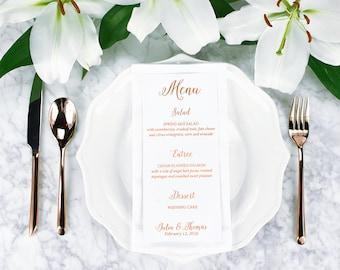 Wedding Menu 9x4 inches Gold Foil Silver Foil Copper Foil Rose Gold Foil Card Stock Paper Wedding Modern Menu Simple Wedding Party Bridal