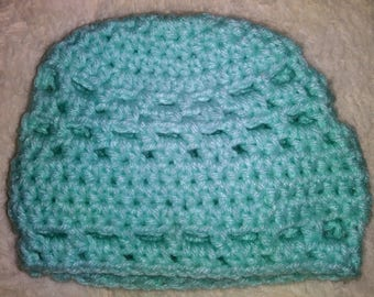 Mint Green Crocheted Newborn Infant Hat