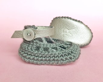 Grey Newborn Booties, Tan Baby Shoes, Charcoal Soft Soles, Brown Infant Booty, Crochet Baby Booties, Neutral Baby Gift, Clothing for Girls