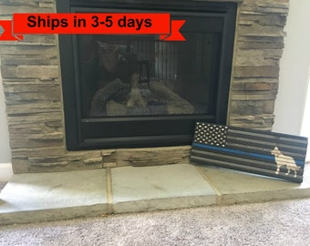 "9""x 22"" Small K-9 Thin Blue line Rustic Flag"
