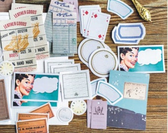 45pcs Vintage Old Style Postcard tags sticker Memo Pack