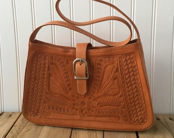 Leaders in Leather Camel Brown Tooled Leather Purse