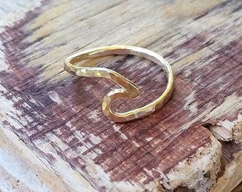 Gold Hammered Wave Ring for Men, Hawaii Beach Jewelry, Wave Ring for Women, Ocean Lovers Gift, Handmade in Hawaii, Surfer Ring, Nautical