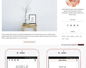 Blogger Template Responsive, Blogger Theme, Minimal, Slider, Simple, Photography, Template for Blogger, Premade, Blogspot - Adele