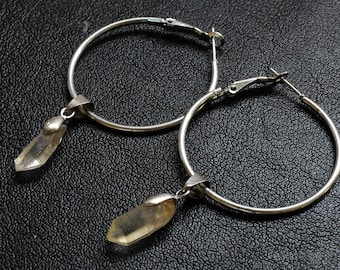 silver hoop earrings with quartz crystal drops, bespoke dangle design