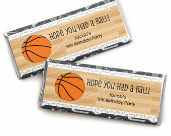 24 Basketball Custom Candy Bar Wrappers - Personalized Baby Shower and Birthday Party Favors