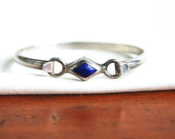 Mexican Lapis Bracelet Sterling Silver Vintage Blue Diamond Hinged Bangle Size Small 5 .5 Modern Jewelry