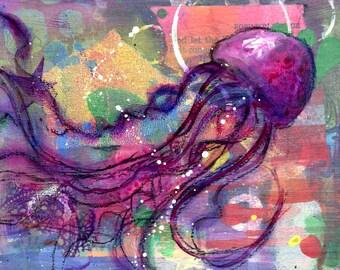 Pink Passion Jelly Fish Art Print-Whimsical coastal art-fish art-art fish-purple-violet-beach house-ocean-sea life-Jelly fish art-hot pink