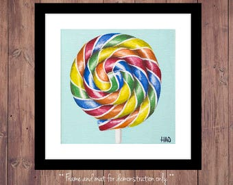 Lollipop Print from Original Oil Painting, Candy Art, Lollipop Painting, Candy Print, Kitchen Art