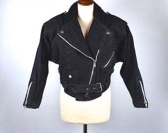Amazing Cropped Denim Biker Jacket with Shearling Lining! Women's Size Small