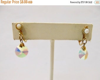 On Sale Vintage White Iridescent Glass Dangle Earrings Item K # 422