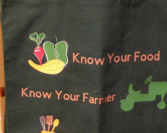 Know Your Food, Know Your Farmer, Know Your Kitchen Green Cotton Market Tote