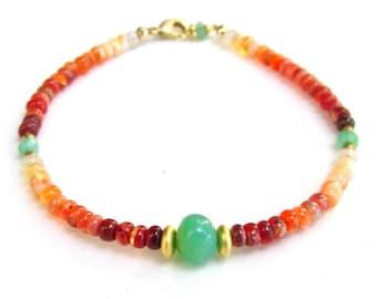 Mexican Fire Opal & Chrysoprase Bracelet with 22k Gold Vermeil Beads HANDMADE Gemstone Jewelry