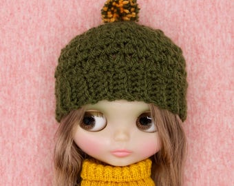 crochet Blythe hat /beanie in olive green color with pom pom