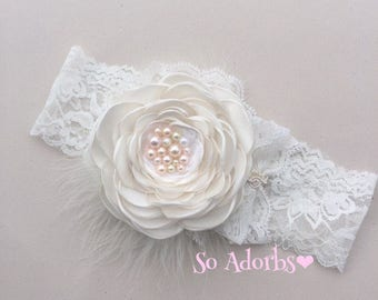 vintage satin baby headband, girl couture headband, lace baby vintage headband, newborn headband, baby headband Flower girl headband