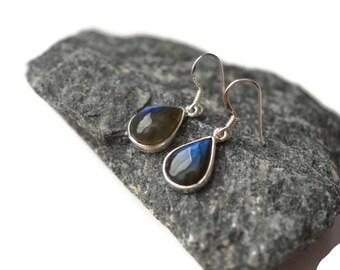 Labradorite Tear Drop Sterling Silver Earrings - Gemstone Labradorite Silver Drop Earrings - Gemstone Silver Drop Earrings