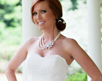 Pearl Bridal Necklace, Vintage Style Crystal Leaf Bridal necklace,  Wedding Jewelry, Wedding Necklace, Bridal Jewlery LEXI