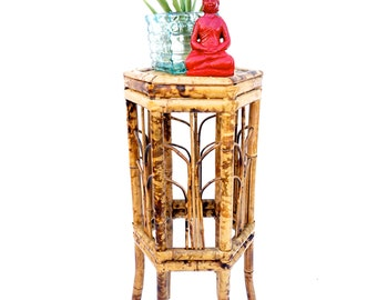 Antique Tortoise Bamboo Plant Stand || Chinoiserie//Boho Chic Hexagonal Bent Bamboo Pedestal Table