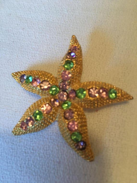 Pretty vintage golden Starfish Flower encrusted with pastel Purple pink Blue & Green Cyrstal Rhinestone Gems