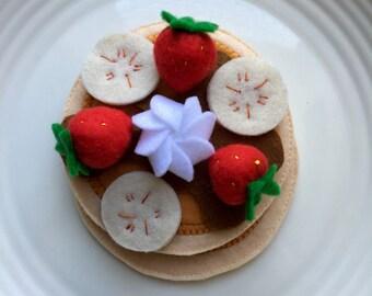 pancakes for breakfast with bacon, egg, strawberries & banana felt play food, montessori toys