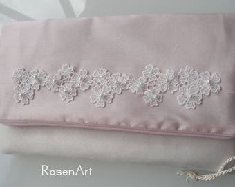 Bridal bags soft pink silk cherry blossom hanami clutch pale pink blush pink ivory wedding dress clutch bag