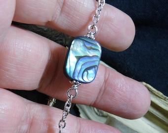 Abalone Shell perles argent Bracelet 7po
