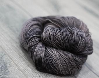 Canadian Hand-dyed sock yarn. 70/20/10 Merino/Cashmere/Nylon. 115g 400 yards. Ready To Ship. SToneskin, multi-colored grey brown yarn