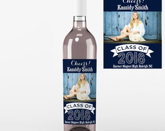 4 Photo Graduation Wine Labels • Personalized Graduation Wine Label - Add Your Picture - Class of 2018 Wine Labels - Custom Color