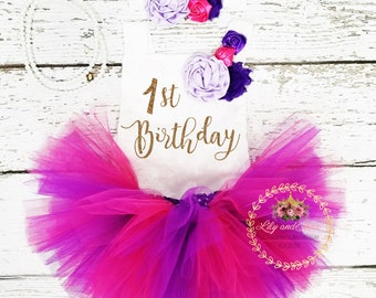 1st Birthday Outfit, pink and purple birthday tutu set, 1st birthday Romper, pink purple birthday set, first birthday smash cake outfit